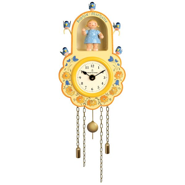 Yellow Wall Clock with Girl and Birds by Wendt & Kühn Image