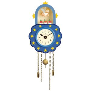Blue Wall Clock with Suspended Angel by Wendt & Kühn Image
