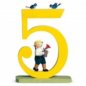 Large Birthday Number 5 Boy with Flower Pot by Wendt & Kühn Image