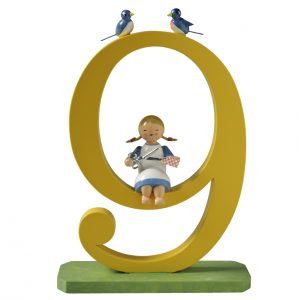 Large Birthday Number 9 Girl with Scissors by Wendt & Kühn Image
