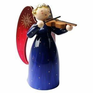 Large Blue Richly Painted Angel with Violin by Wendt & Kühn Imagfe