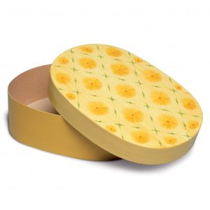 Open Oval Splinter Box with Yellow Blossoms by Wendt & Kühn Image