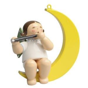Small Angel Musician with Transverse Flute in Moon by Wendt & Kühn Image