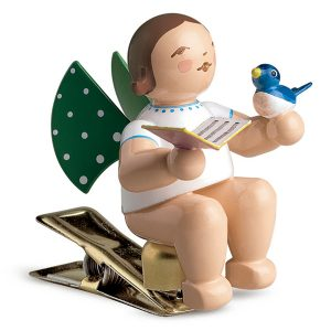 Angel Musician with Songbook and Bird on Clip by Wendt & Kühn Image