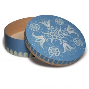Open Large Round Blue Splinter Box with Floral Pattern by Wendt & Kühn Image
