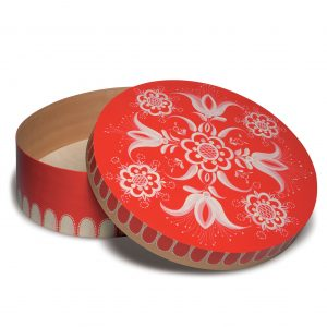 Open Large Round Red Splinter Box with Floral Patterns by Wendt & Kühn Image