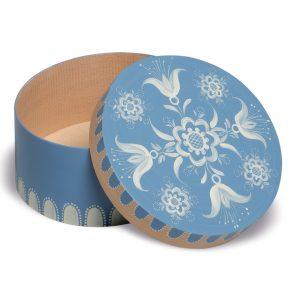 Small Open Round Blue Splinter Box with Floral Pattern by Wendt & Kühn Image