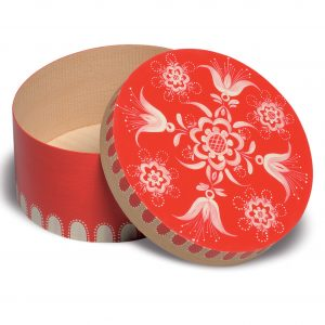 Small Open Round Red Splinter Box with Floral Pattern by Wendt & Kühn Image